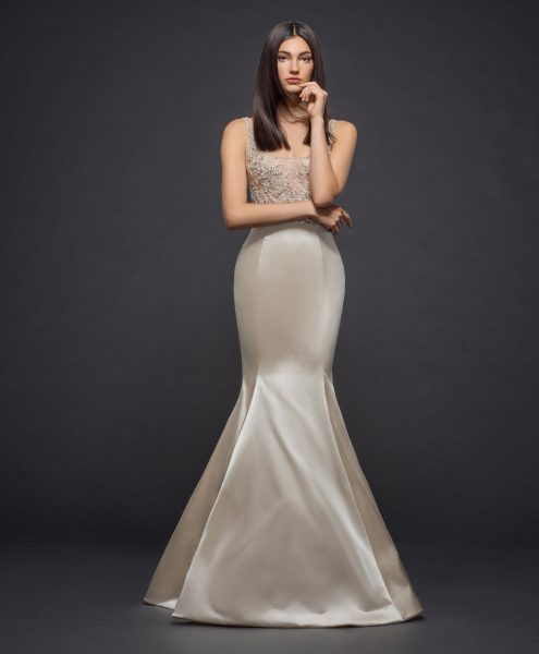 Beaded Sleeveless Scoop Neck Bodice Fit And Flare Wedding Dress by Lazaro - Image 1