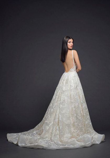 Detailed Applique Sleeveless Ball Gown Wedding Dress by Lazaro - Image 2