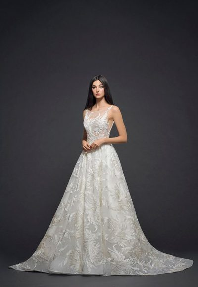 Detailed Applique Sleeveless Ball Gown Wedding Dress by Lazaro