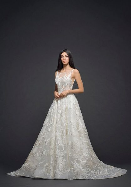 Detailed Applique Sleeveless Ball Gown Wedding Dress by Lazaro - Image 1