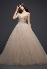 Illusion Beaded Bodice Tulle Skirt Ball Gown Wedding Dress by Lazaro - Image 1