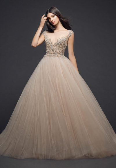Illusion Beaded Bodice Tulle Skirt Ball Gown Wedding Dress by Lazaro