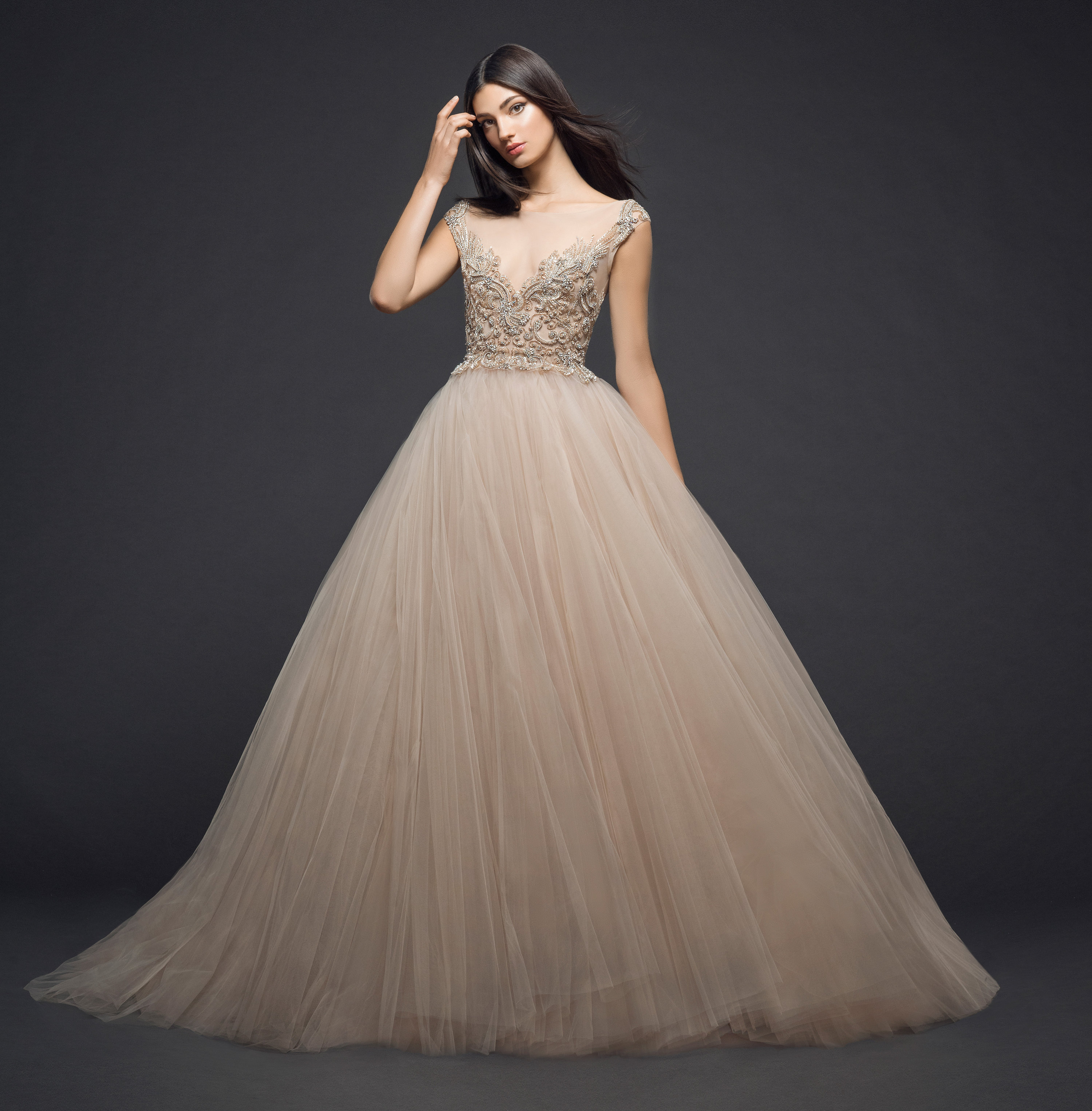 Illusion Beaded Bodice Tulle Skirt Ball Gown Wedding Dress ...