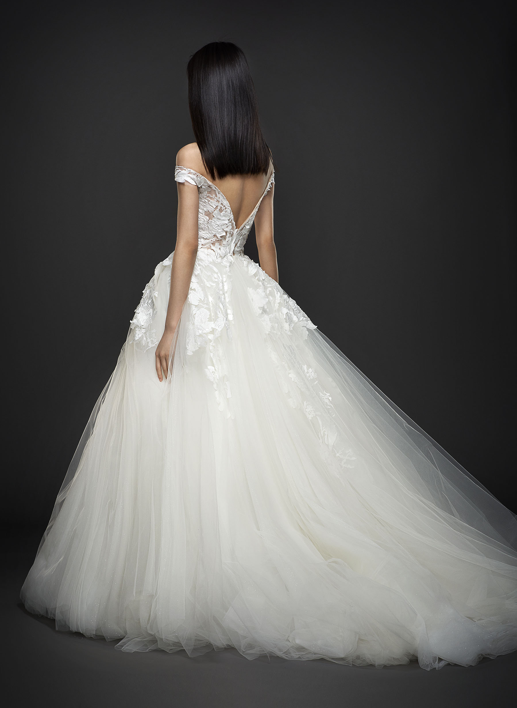 Off The Shoulder V-neck Floral Applique Tulle Skirt Ball Gown ...