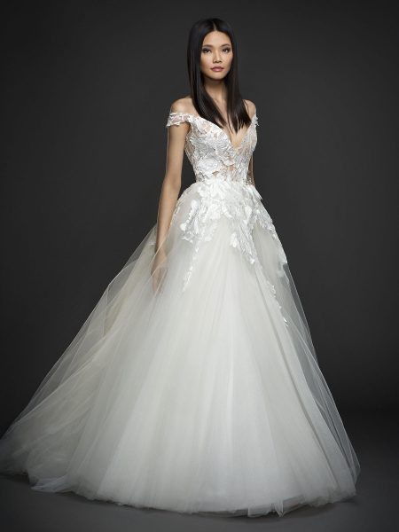 Off The Shoulder V-neck Floral Applique Tulle Skirt Ball Gown Wedding Dress by Lazaro - Image 1