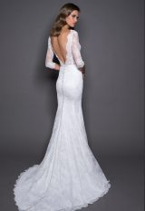 3/4 Sleeve Lace And Satin Wedding Dress With Covered Buttons At Back by Love by Pnina Tornai - Image 2
