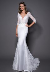 3/4 Sleeve Lace And Satin Wedding Dress With Covered Buttons At Back by Love by Pnina Tornai - Image 1