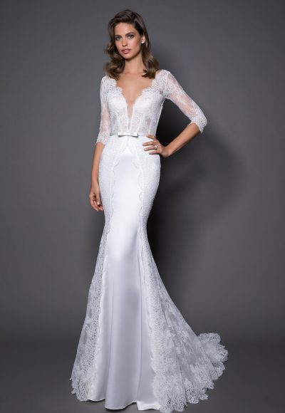 3/4 Sleeve Lace And Satin Wedding Dress With Covered Buttons At Back by Love by Pnina Tornai