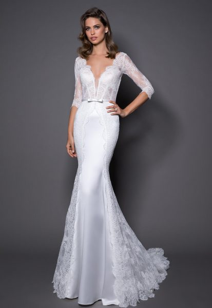 880ab5f83 3/4 Sleeve Lace And Satin Wedding Dress With Covered Buttons At Back by Love