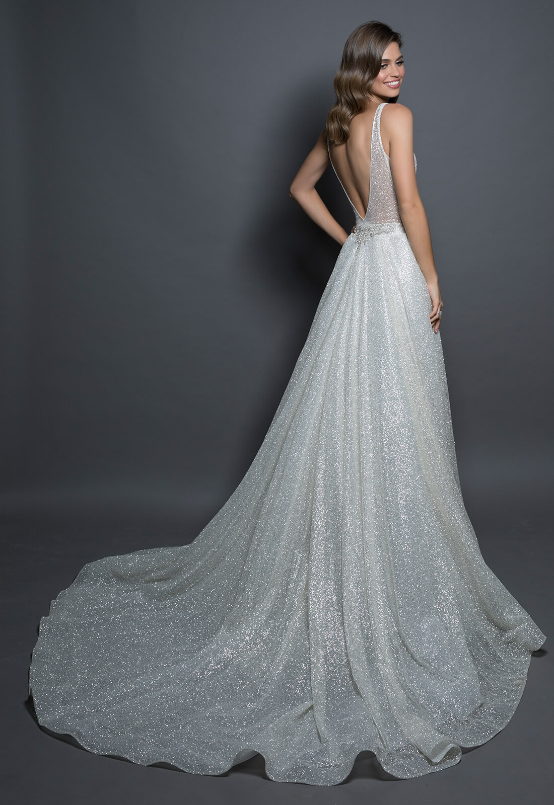 Detachable Sparkle Overskirt Kleinfeld Bridal