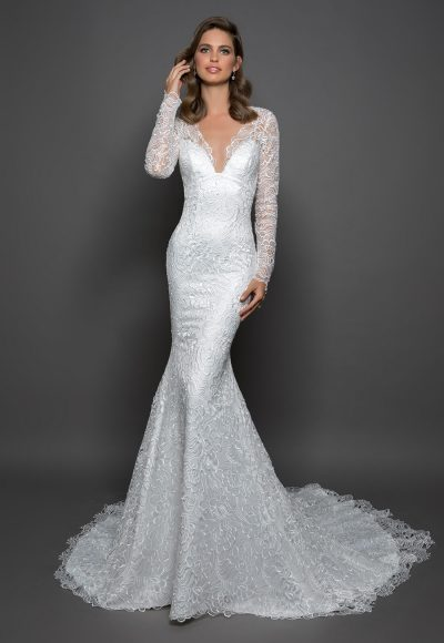 Lace Sheath Long Sleeve Dress With V-neckline by Love by Pnina Tornai