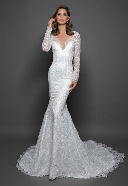 Lace Sheath Long Sleeve Dress With V-neckline by Love by Pnina Tornai - Image 1
