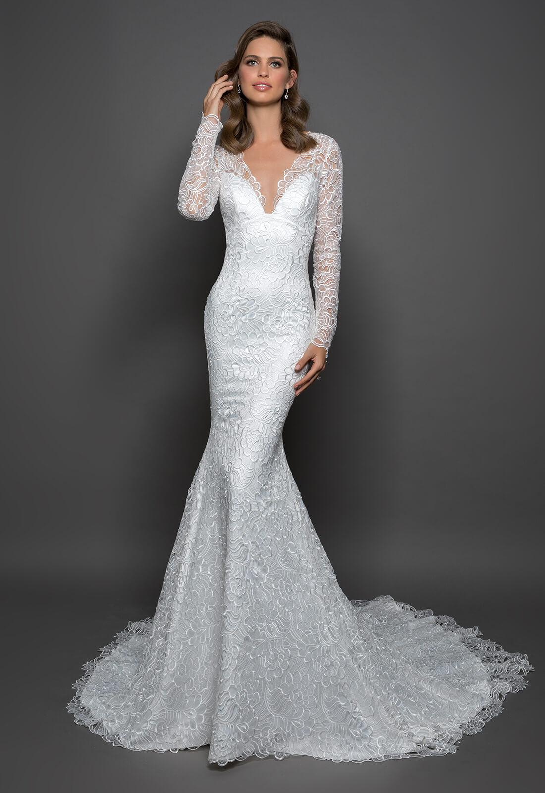 Lace Sheath Long Sleeve Dress With V-neckline | Kleinfeld Bridal
