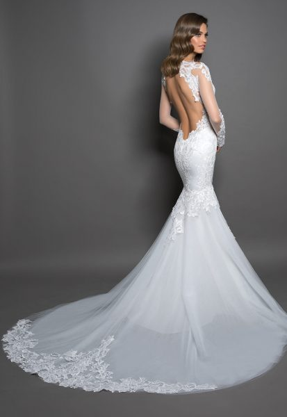 Long Sleeve Mermaid Gown With Lace Detailing by Love by Pnina Tornai - Image 2