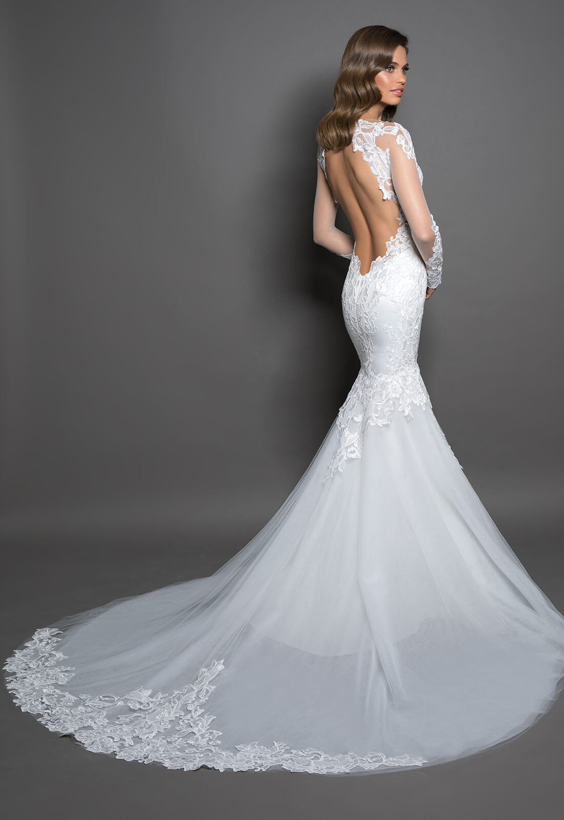 Long Sleeve Mermaid Gown With Lace Detailing Kleinfeld