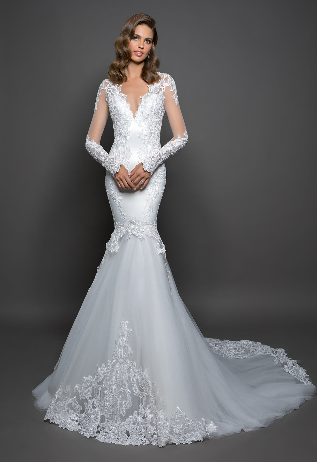Long Sleeve Mermaid Gown With Lace Detailing