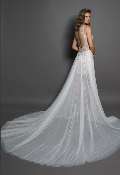 Sheath With V-neck And Tulle Bottom Featuring A Slit by Love by Pnina Tornai - Image 2