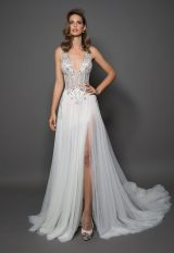 Sheath With V-neck And Tulle Bottom Featuring A Slit by Love by Pnina Tornai - Image 1