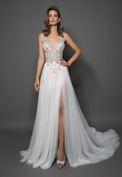 Sheath With V-neck And Tulle Bottom Featuring A Slit by Love by Pnina Tornai