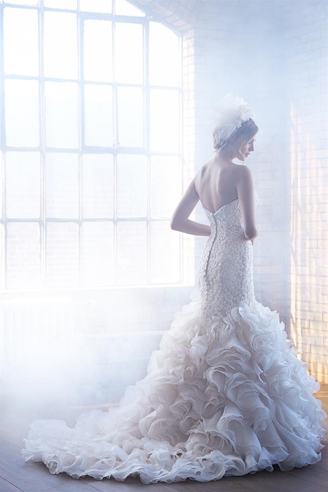 Beaded Lace Bodice Ruffled Skirt Mermaid Wedding Dress by Madison James - Image 2