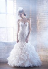 Beaded Lace Bodice Ruffled Skirt Mermaid Wedding Dress by Madison James - Image 1