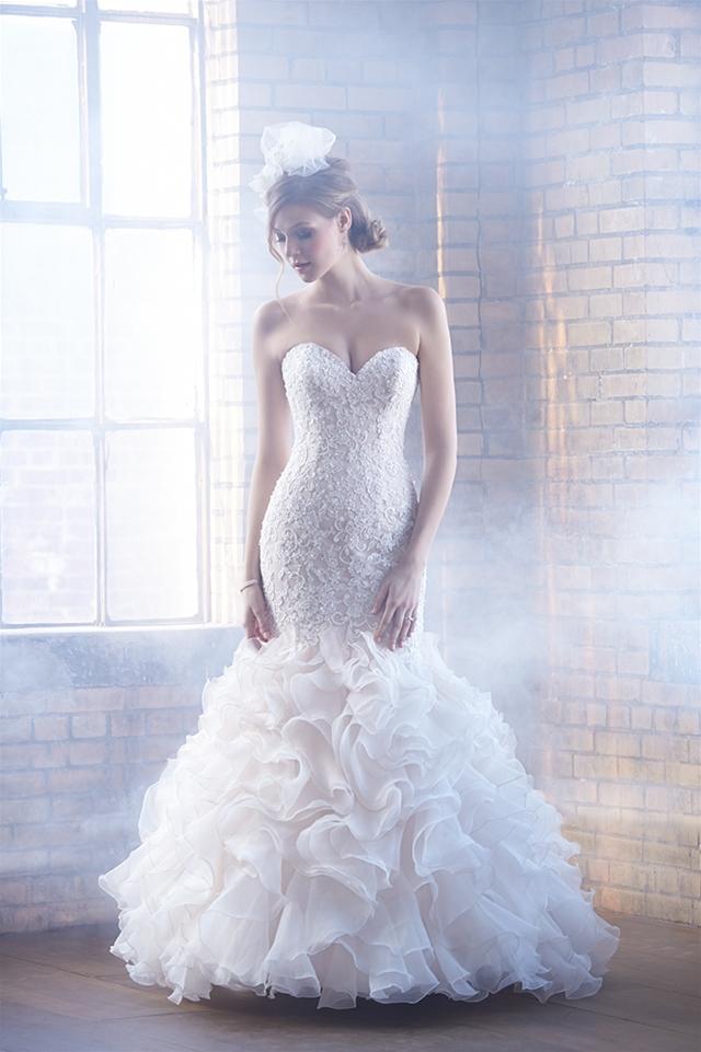 Beaded Lace Bodice Ruffled Skirt Mermaid Wedding Dress by Madison James - Image 1