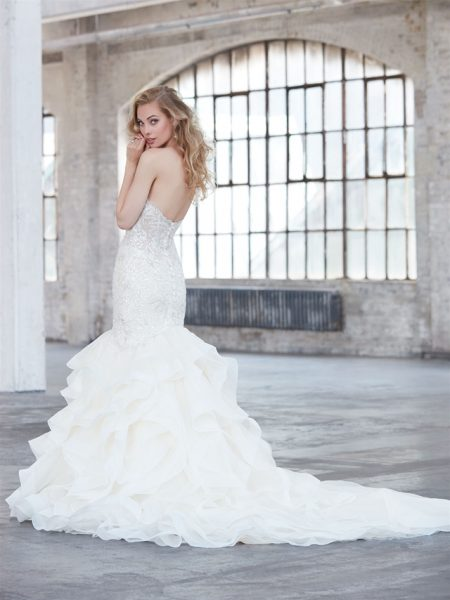 Beaded Sweetheart Neck Bodice Ruffle Skirt Wedding Dress by Madison James - Image 2