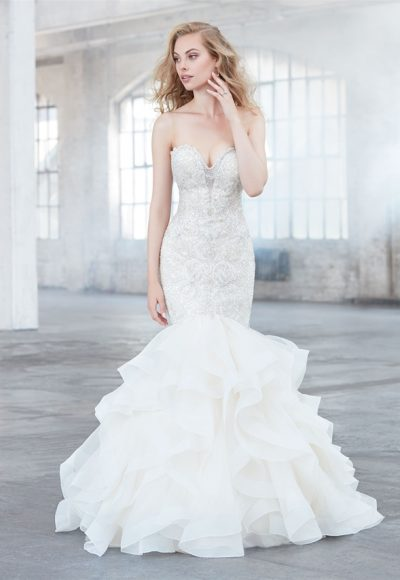 Beaded Sweetheart Neck Bodice Ruffle Skirt Wedding Dress by Madison James