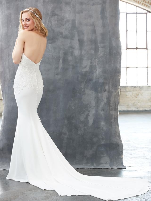 Halter Neckline Open Back Beaded Bodice Fit And Flare Wedding Dress ...