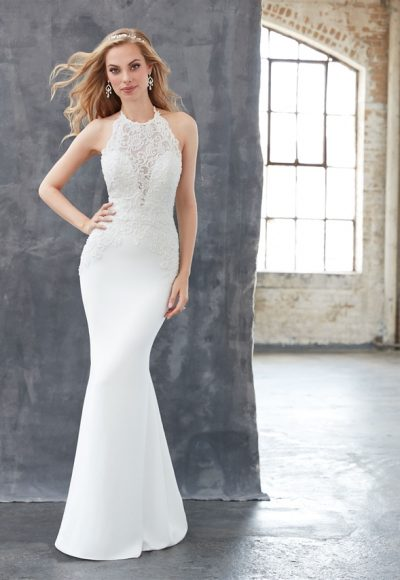 Halter Neckline Open Back Beaded Bodice Fit And Flare Wedding Dress by Madison James