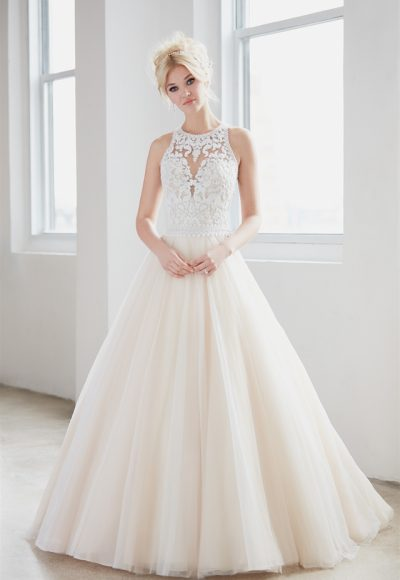 High Neck Illusion Sweetheart Lace Bodice Tulle Skirt Wedding Dress by Madison James