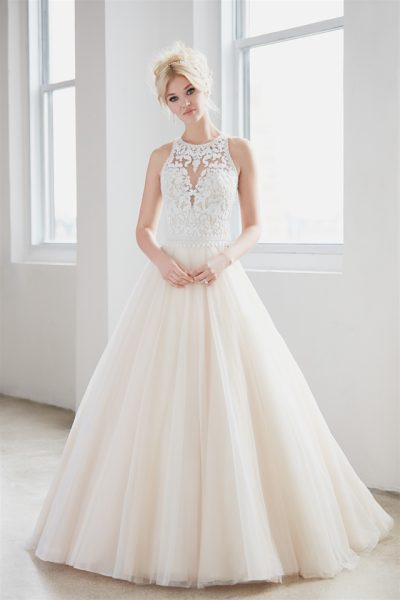 High Neck Illusion Sweetheart Lace Bodice Tulle Skirt Wedding Dress by Madison James - Image 1