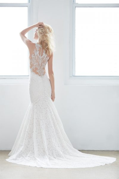 High Neck Illusion Sweetheart Lace Mermaid Wedding Dress by Madison James - Image 2