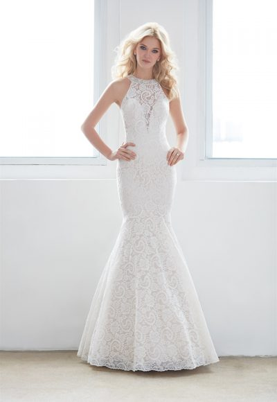 High Neck Illusion Sweetheart Lace Mermaid Wedding Dress by Madison James