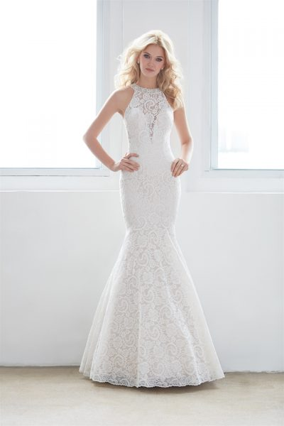 High Neck Illusion Sweetheart Lace Mermaid Wedding Dress By Madison James Image 1