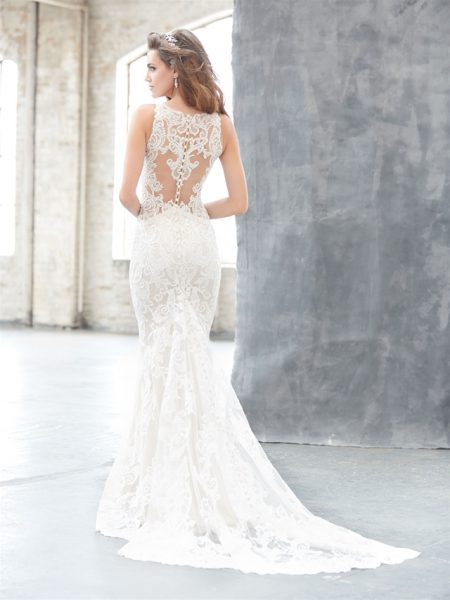 Illusion Neck Lace Sheath Wedding Dress by Madison James - Image 2