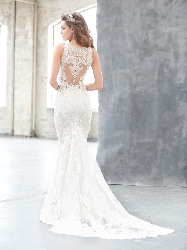 Illusion Neck Lace Sheath Wedding Dress | Kleinfeld Bridal