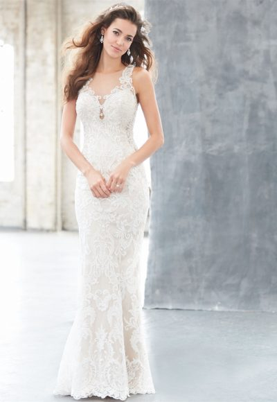 Illusion Neck Lace Sheath Wedding Dress by Madison James
