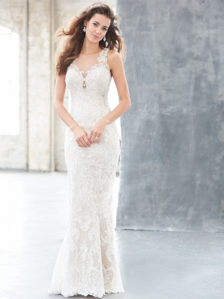 Illusion Neck Lace Sheath Wedding Dress by Madison James - Image 1