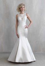 Illusion Sweetheart Neck Satin Skirt Wedding Dress by Madison James - Image 1