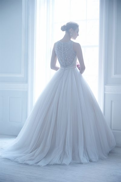 Jewel Neckline Beaded Bodice Tulle Skirt Ball Gown Wedding Dress by Madison James - Image 2