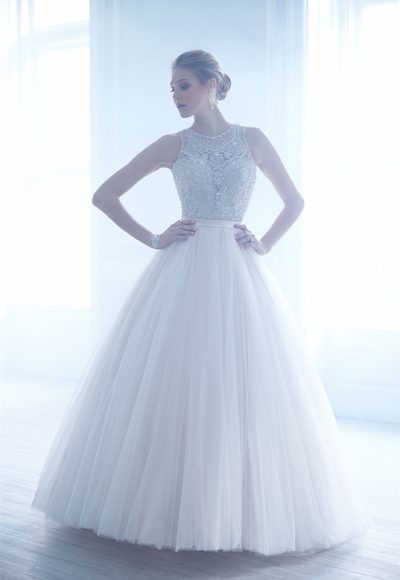 Jewel Neckline Beaded Bodice Tulle Skirt Ball Gown Wedding Dress by Madison James