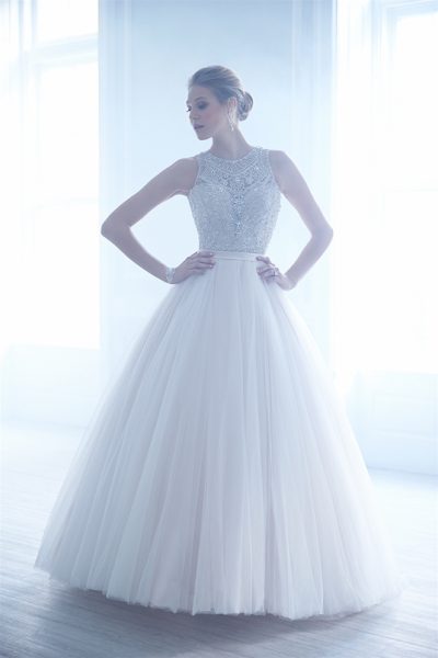 Jewel Neckline Beaded Bodice Tulle Skirt Ball Gown Wedding Dress by Madison James - Image 1