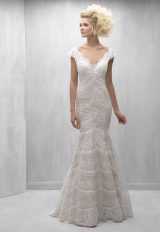 Scalloped Lace V-neck Cap Sleeve Mermaid Wedding Dress by Madison James - Image 1