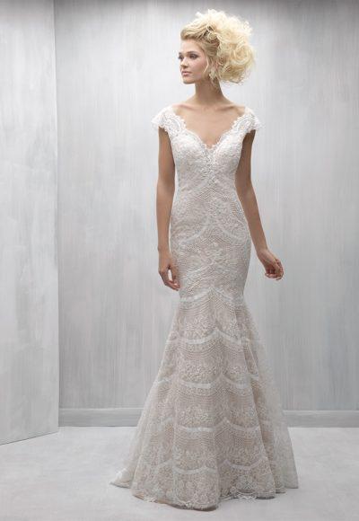 Scalloped Lace V-neck Cap Sleeve Mermaid Wedding Dress by Madison James