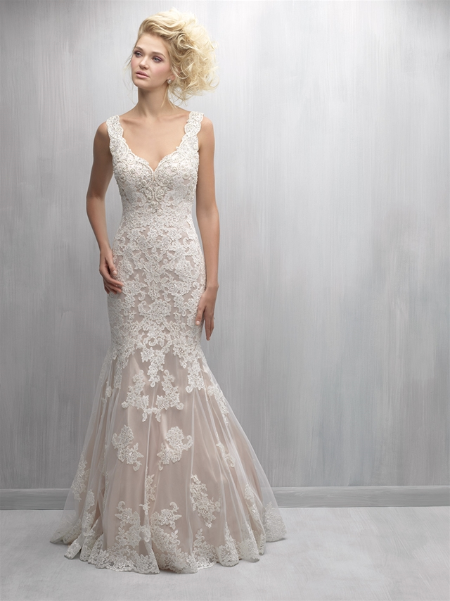 Scalloped V-neck Lace Fit And Flare Wedding Dress by Madison James - Image 1