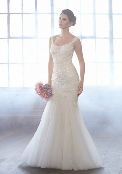 Scoop Neck Sleeveless Beaded Bodice Fit And Flare Wedding Dress by Madison James - Image 1