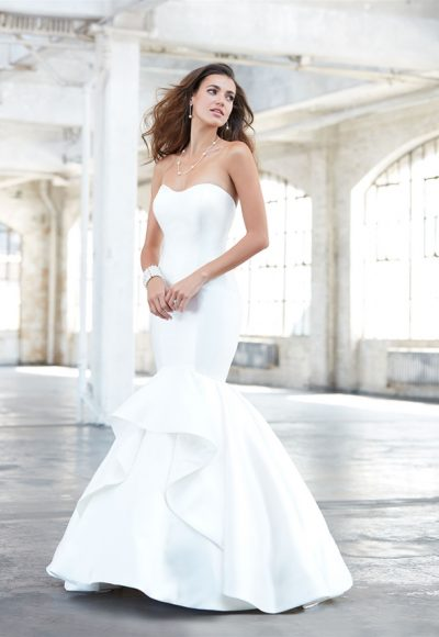 Simple Sweetheart Neck Strapless Satin Mermaid Wedding Dress by Madison James