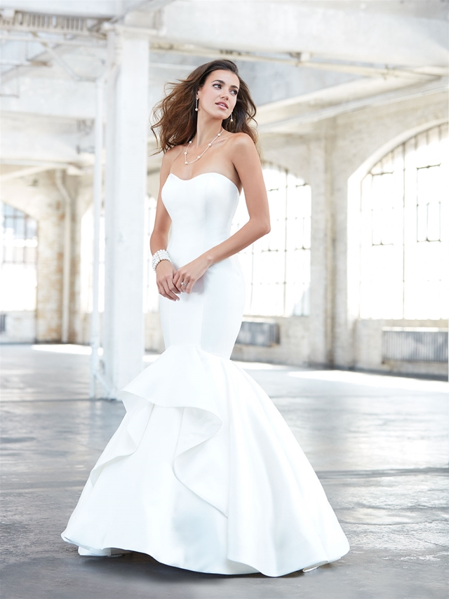 Simple Sweetheart Neck Strapless Satin Mermaid Wedding Dress by Madison James - Image 1