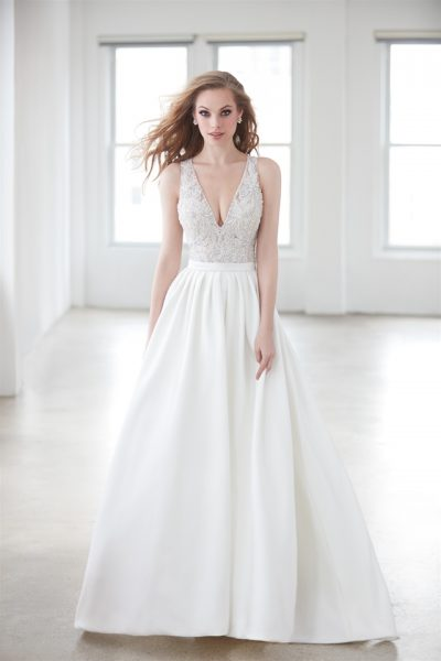 Sleeveless V-neck Beaded Bodice A-line Wedding Dress by Madison James - Image 1